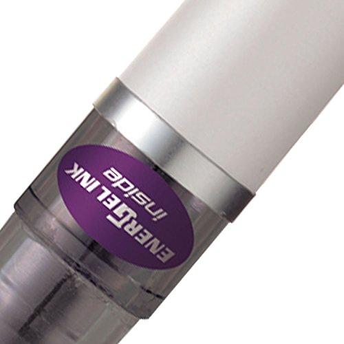 Pentel Energel Tradio - Juego de bolígrafos roller (12 unidades, 0,7 mm, tinta de gel morada), color blanco