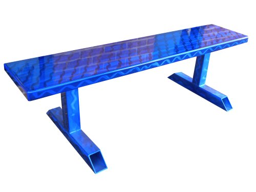 Ofab Custom Theme Tables Standard Backless Bench, Blue Translucent