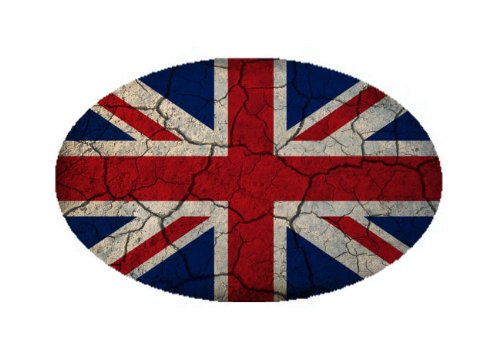 United Kingdom Flag Crackled Design Oval Magnet - Great for Indoors or Outdoors on Vehicles (British Car Flag compare prices)