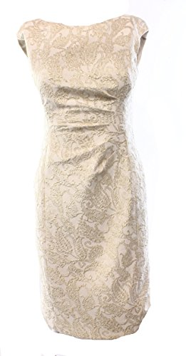 Lauren Ralph Lauren Gold Jacquard Womens Pleated Sheath Dress Ivory 10