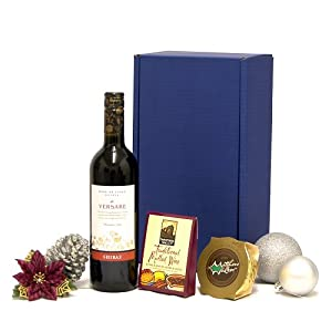 Luxury Christmas Mulled Wine Kit - Blue Gift Box Includes 750ml Versare Red Wine, Mulled Wine Spice Kit & Christmas Pudding - Corporate Xmas Christmas Gifts & Hampers Presents for Her Him Men Women Mum Dad Mother Father Nanna Grandad Grandparents Staff Wo