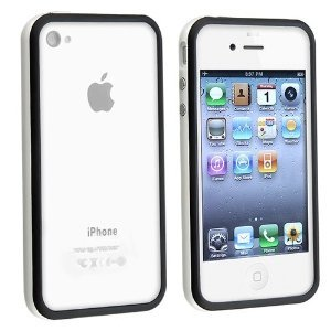 Fosmon 2 Tone Bumper Case for Apple iPhone 4/4S - White & Black