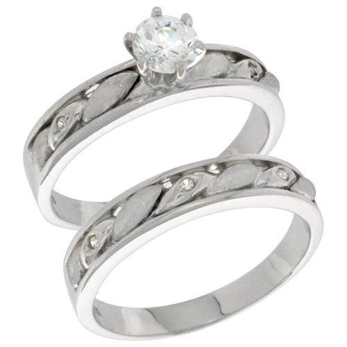 Sterling Silver Diamond Simulant 4mm Ladies Bridal Set