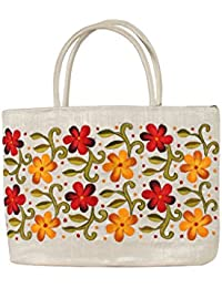 Soulful Threads Cotton Silk Floral Embroidered White Hand Bag
