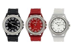 Geneva Platinum Silicone Band CZ Watch Set (Black, White, Red)