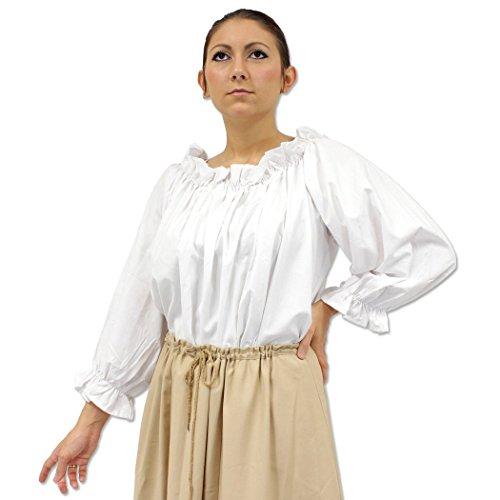 Womens Ruffled Pirate Maiden Blouse Medieval Peasant Costume Shirt RenFair White (Fair Maiden Renaissance Costume)