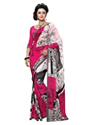 Inddus Exclusive Women Georgette Pink Saree With Lace Border Work - B00NIQH7JU