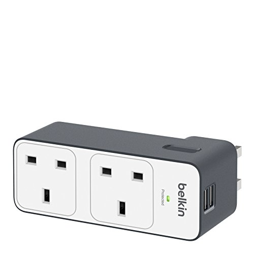 Belkin BST200AF 2 Way Multi Plug Travel Surge Protector USB Charging