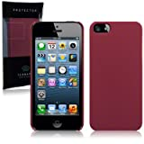 iPhone 5 Hybrid Rubberised Back Cover Case / Shell / Shield (Solid Red)