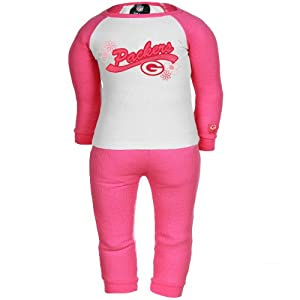 NFL Gerber Green Bay Packers Toddler Girls 2-Piece Thermal Pajama Set - Pink/White from Football Fanatics