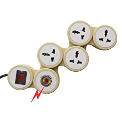 MX 4 OUTLET UNIVERSAL SNAKE SPIKE PROTECTOR WITH CIRCUIT BREAKER DUAL ILLUMINATED SWITCH 15 AMP
