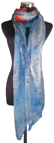 Large Red, Blue and Grey, McQueen Style Union Jack & Skull Design Chiffon Scarf or Sarong