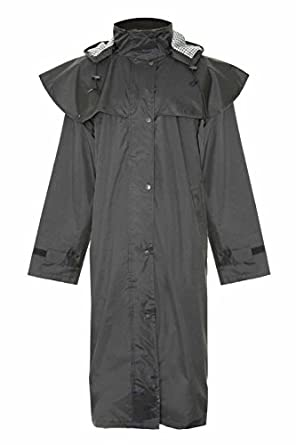Country Estate Ladies Sandringham Full Length Waterproof Fabric Lightweight Lined Riding Cape Coat Jacket Trench Coats Macs Lined Detachable Hood Taped Seams Walking Outdoors Countrywear Black Size 10