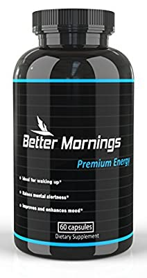 Energy Pills for Focus and Mood | Coffee and Energy Drink Alternative | Brain Nootropic | Caffeine Pills for Clarity and Memory | Rhodiola and Phenylethylamine | Study Pills | Vitamins for Energy