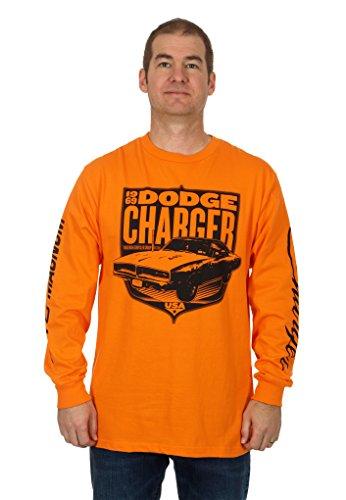 Men's Dodge Charger Long Sleeve T-Shirt (MD),Orange