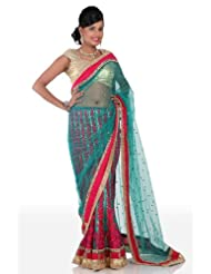 Chhabra555 Green Net One Minute Saree - B00J4RP9JM
