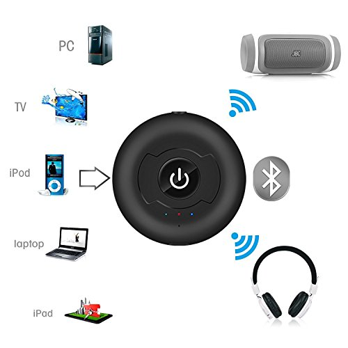 * Multi Point * Bluetooth 4.0 Transmitter, Wireless Bluetooth Audio Transmitter Support Two Bluetooth Headphones or Speaker Simultaneously for Tv Pc Cd Player Ipod Mp3/mp4