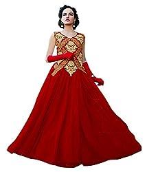 BK ENTERPRISE Women's Red Net Attractive Gown(bk-104_freesize)