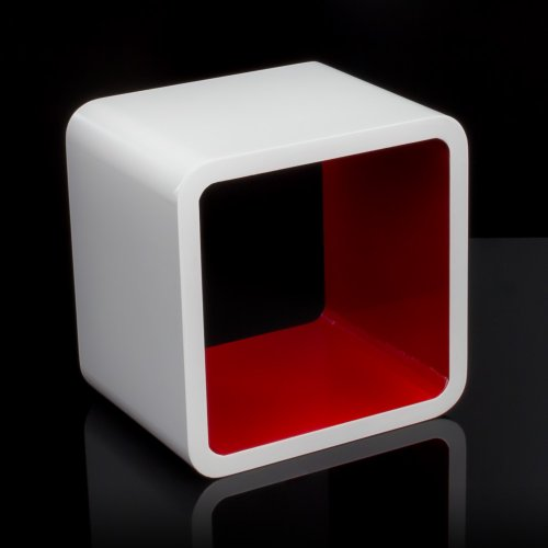 Homestyle4u Cube Wandregal Regal Bücherregal Hängeregal Retro Design weiss rot