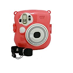 CAIUL Transparent Crystal Protective Instax Mini Case for Fujifilm Instax Mini 25 Instant Cameras,Pink