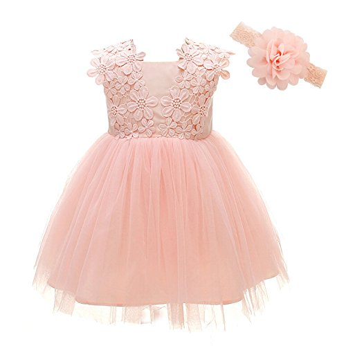 Baby Girl Dress Christening Baptism Gowns Flower Girl Dress, Pink, 6M