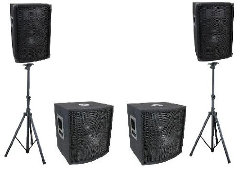 "Complete Pro Audio Dj Portable Pa Speaker System Two 8"" 2Way/ Two 15"" Subwoofers"
