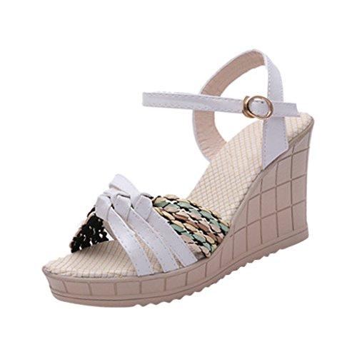Hee Grand Women Bohemian Style Peep-Toe Platform Wedge Heel Sandals