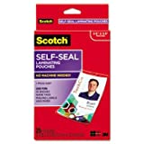 Self-Sealing Laminating Pouche w/Clip, 12.5 mil, 2 15/16 x 4 1/16, 25/Pack