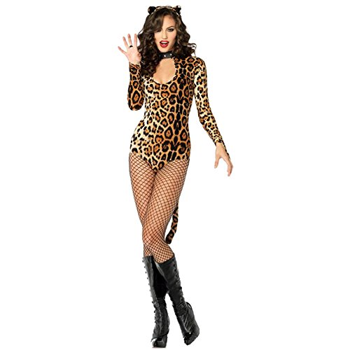 Fashion Story Women Sexy Underwear Lingerie Leopard Print Cat Halloween Costume