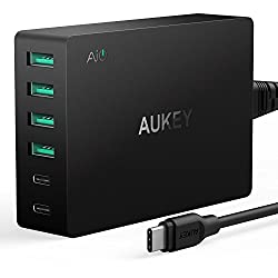 USB-C & Quick Charge 3.0 AUKEY Amp Type-C 6-Port USB Charger with USB-C Cable for LG G5, HTC 10, Nexus 6P, MacBook & More