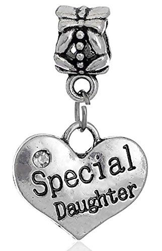Special Daughter Rhinestone Heart Pendant Dangle