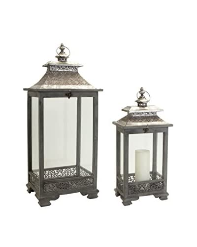 Melrose Set of 2 Moroccan Style Filigree Lanterns, Silver/Grey