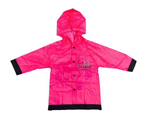 Disney Minnie Mouse Girls Rain Slicker Raincoat Pink Bows (Large / 6-7)
