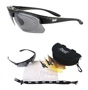 Schwarz Rx 'Pro Performance Plus' POLARISIERTE SPORTBRILLE SEHSTÄRKE mit OPTIKADAPTER und Wechselgläser (x4). Brille für Radsport, Ski, Schießen, Laufen, usw. Für Herren und Damen