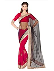 Designersareez Women Black & Red Net & Faux Georgette Saree With Unstitched Blouse (1784)