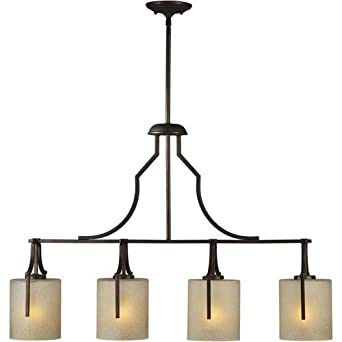 Forte Lighting 2402-04-32 4-Light Transitional Island Pendant, Antique Bronze Finish with Umber Linen Glass Shades