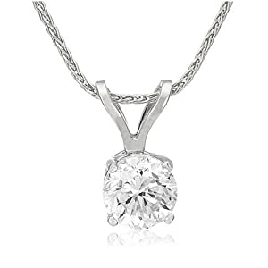 Certified Platinum Round Diamond Solitaire Pendant