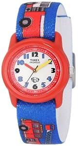 Timex Kids' T7B704 Quartz Analog Fire Trucks Elastic Band Watch