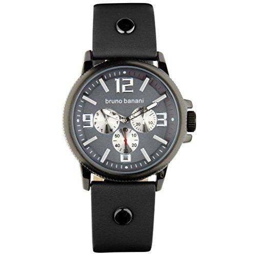 Bruno Banani Gents Watch Trenos Leather Bracelet Grey Quartz Dial Anthracite Grau Trend Watch UBR30030