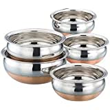 Mayur Exports Stainless Steel Copper Bottom Handi - Set Of 5