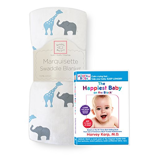SwaddleDesigns Marquisette Swaddling Blanket with The Happiest Baby DVD Bundle, Safari Fun, Blue