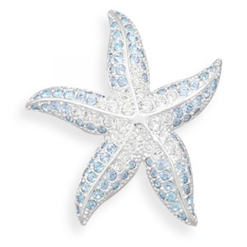 MMA Silver - Blue and Clear Swarovski Crystal Starfish Fashion Pin
