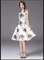 Mahadev Enterprise Off White Retro Floral High Waist Sleeveless Midi Skater Dress ( Semi Stitched )