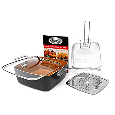 "Gotham Steel Ti-Cerama 9.5"" Deep Square Pan With Lid, Frying Basket, Steamer Tray and Recipe Book - 5 Piece Set"