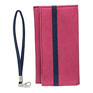 Jo Jo A5 Nillofer Leather Wallet Universal Pouch Cover Case For VivoY31L Pink Dark Blue