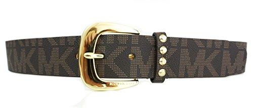 Michael Kors Womens Signature Jacquard MK Logo Brown Belt Gold Buckle Size Large