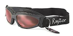 2013 Rayzor Professional UV400 GunMetal Grey 2 In 1 Anti Fog Sports Sunglasses / Goggles, With a Clear Rose Anti-Glare Clarity Lens and a Detachable Elasticated Headband & Inner Foam Padding.