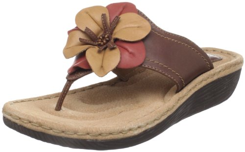 Clarks Women's Latin Samba Thong Sandal,Brown Leather,7 M US