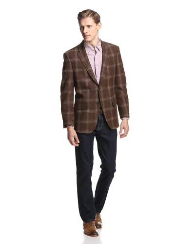 Coppley Men's Windowpane Sport Coat  [Brown Windowpane]
