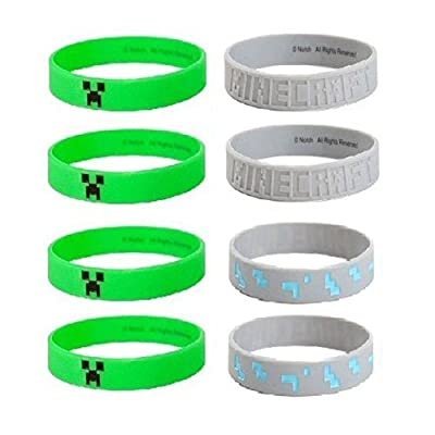 MINECRAFT Silicone Bracelet Lot 24 Bracelets Party Favors Creeper, Diamond Ore by na